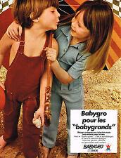 PUBLICITE ADVERTISING 045  1971  BABYGRO   vetements enfants