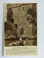 Bishop's Palace Wells Vintage B&W Postcard c1920s Swans Ringing the Bell