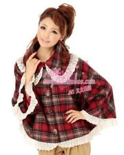 130 Liz Lisa Japanese Fashion Cute Lolita Wool Blend Lace Check Cloak Blouse Top