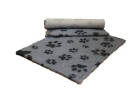 VETFLEECE Non Slip Deep Pile Fleece Vet Bed Dog Cat Grey / Charcoal Multi Paws