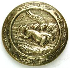 """Antique Brass Sporting Button Fleeing Rabbit w/ Fox & Pheasant Border - 1"""""""