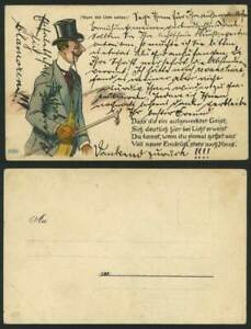 Hold To The Light Old Postcard Man Spectacle Hat Stick