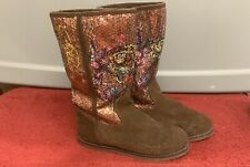 Ed Hardy Brown Sequenced Boots with Fur Lining Women's 8