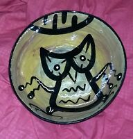 Vintage Old Studio American Art Pottery Bowl Mana Arizona Spiritual Owl Rare