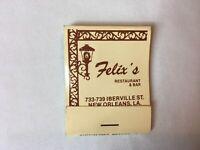 Vintage Matchbook Felix's Restaurant & Bar Seafood New Orleans LA