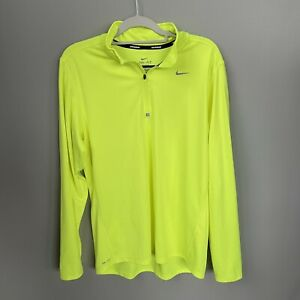 Nike mens size Large 1/4 zip top pullover Neon Yellow Dri-Fit Running