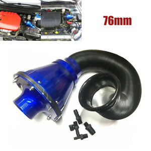 3''/76mm Universal Blue Air Power Intake Filter High Flow Cold Air Inlet Cleaner