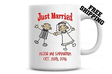 Just Married Coffee Mug, Personalized with your Names and Dates Customized