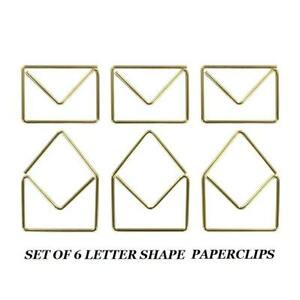 SET OF 6 X OPEN / CLOSED ENVELOPES GOLD METAL PAPERCLIPS BOOKMARK MEMO CLIP