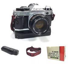 Canon AE-1 Program Film Camera 50mm 1:1.8 SC Lens, Power Winder Strap, Box WORKS