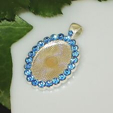 25x18 Oval w/ Blue Rhinestones Silver Plated Cabochon (Cab) Pendant Setting