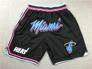 Retro Herren Miami Heat Stitched Basketball Swingman Shorts Sports S-2XL Neu