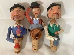 3 Vintage Wooden Carved Nutcracker Bottle Cork Stopper Man Beer Barrel Stein Hat