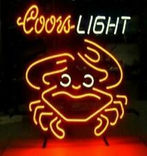 "Coors Light Crab Beer Neon Sign 20""x16"" Lamp Glass Bar Club Windows Display"