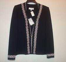 ST. JOHN Black WHITE Trim BLAZER  Zip Jacket Size 8 NEW $1495
