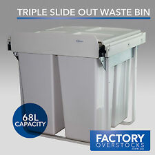 68L Slide RubbishTriple Waste Bin - Pull Out Concealed Kitchen Three Compartment