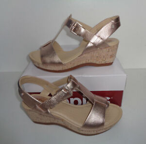 Hush Puppies Ladies Womens Wide Fit Gold Wedge Heel Ankle Strap Sandals Size 4-7