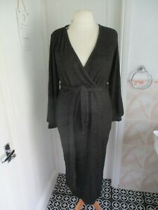 V by Very Charcoal Ribbed Stretch Knitted Wrap Style Belted Dress Size 18 BNWT