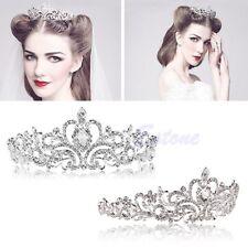 Princess Wedding Bridal Party Pearl Crystal Flower Hair Band Headband Tiara UK