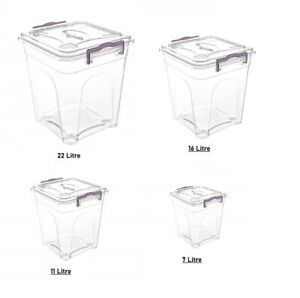 Plastic Storage Box. Clear Box with Clear Lid. Pantry Container.