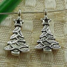 free ship 80 pieces tibetan silver Christmas tree charms 20x11mm #3590