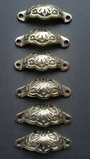 """6 Apothecary Drawer Bin Pull Handles POLISHED Ant. Victorian Style 3 9/16""""  #A2"""