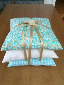 Handmade Triple Stacking Ring Pillow Country Rustic Gingham Green Gold Cotton