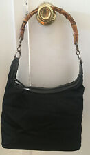 Auth GUCCI Vintage Bamboo Handle  Hand Bag Black