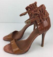 Schutz Shoes Women's Heels Classics Ankle Strap Studs Brown/Beige Leather Sz 6 B
