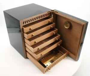#e831 adorini Mini Humidor Schrank Schwarz Zigarren Box mit Schubladen B-Ware