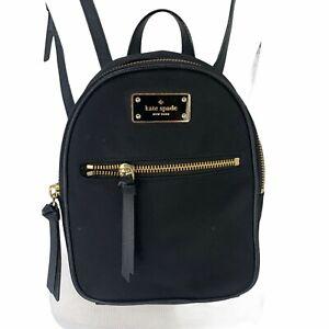 Kate Spade Mini Backpack Black Nylon Adjustable Shoulder Straps Zip Top Day Pack