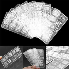 Nail Art Stamp Stencil Stamping Template Plate Set Tool Stamper Design Kit IU