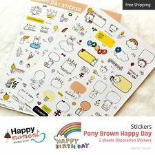 Pony Brown Happy Day Stickers Marker Memo Flag Sticky Note Index Tab 2 sheets
