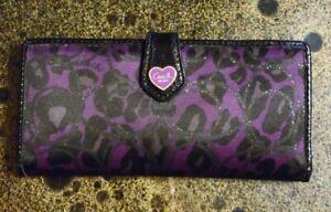 Coach Madison Purple & Black Ocelot Leopard Print OPArt Slim Wallet 17764 RARE