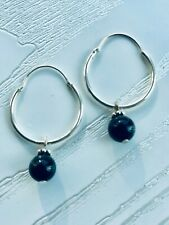STERLING SILVER .925 HOOP EARRINGS with ONYX Pendant