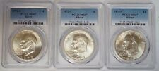 1972 S, 1973 S & 1974 S $1 Silver BU Eisenhower Ike Dollar PCGS MS67 Set of 3