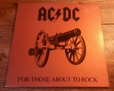 ACDC For Those About To Rock UK 1981 1st Atlantic LP Near Comme neuf Time Warp copie
