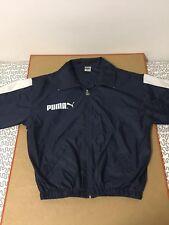 Puma Track jacket nylon stripe 80s windbreaker wind light navy blue spellout vtg