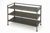 Stackable 3 Tier Shoe Rack w/ Durable Iron Frame & Screw-in Leveling Feet