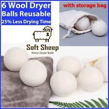 6 Wool Dryer Balls Xl 100% Organic Wool Natural Laundry Fabric Softener new