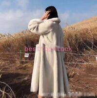 Luxury Ladies Winter Real Mink Fur Coat Lapel Collar Long Jackets Outwear Parka