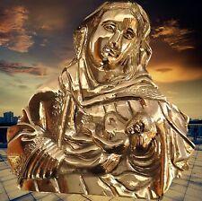Marien Bildnis mit Kind erhabenes Relief Bronze vergoldet Vintage Wanddeko
