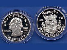 Silver PESETA NARANJITO  2009 Puerto Rico Boricua Quarter 1/100 Plata
