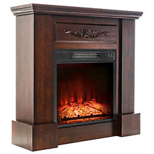 32 in. Insert Electric Fireplace Brown Wooden Mantel Floral 3D Flames Log Heater