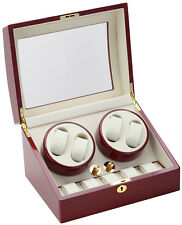 Diplomat Quad 4 + 5 Watch Winder Storage Cherry Wood Finish w/ Cream Leatherette