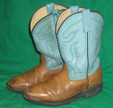 VTG ACME YOUTH CHILD KID COWBOY BOOT TURQUOISE TAN CHILDREN WEST WEAR BUCKAROO