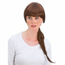 Deluxe Long Brown Plaited Plait Pony Tail Lara Croft Tomb Raider Fancy Dress Wig