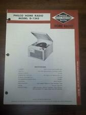 OEM Philco Service Manual for the D-1345 Clock/Radio/Record Player~Original