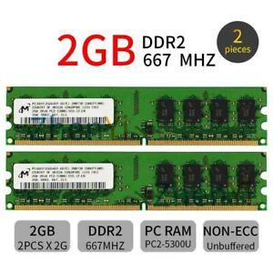 4GB 2x 2GB DDR2 667MHz PC2-5300U 240Pin 2Rx8 DIMM Desktop Memory SDRAM Micron BT