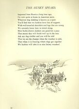 Siberian Husky Illustration and Poem - 1947 M. Dennis